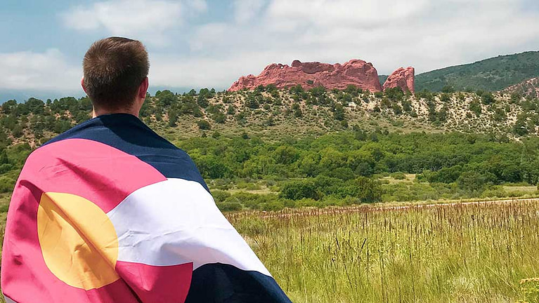 Locals Discount Colorado flag garden of the gods