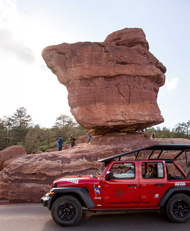 adventures out west jeep tour balance rock in garden of the gods