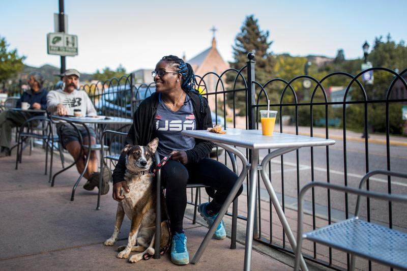 Manitou Springs patio with dog