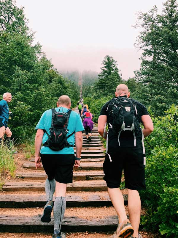 manitou incline hikers going up