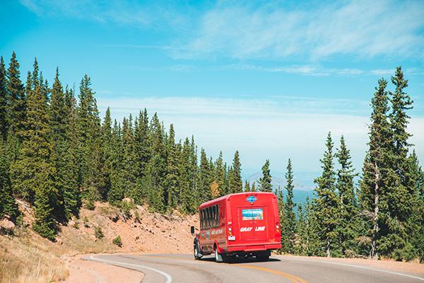 back of gray line pikes peak bus