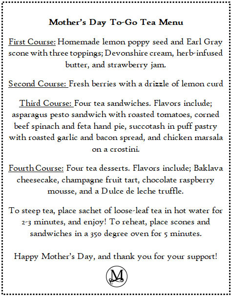 miramont castle mothers day menu