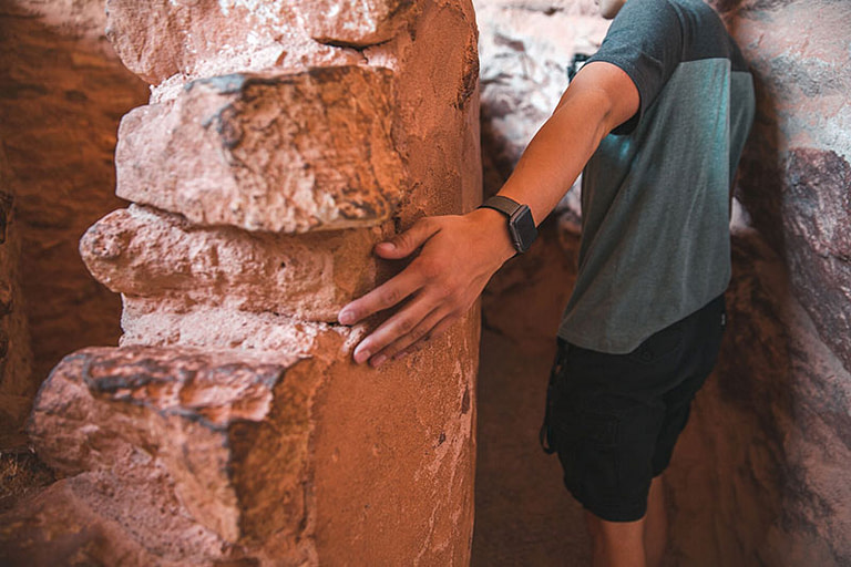 Manitou Cliff Dwellings not do not touch signs.