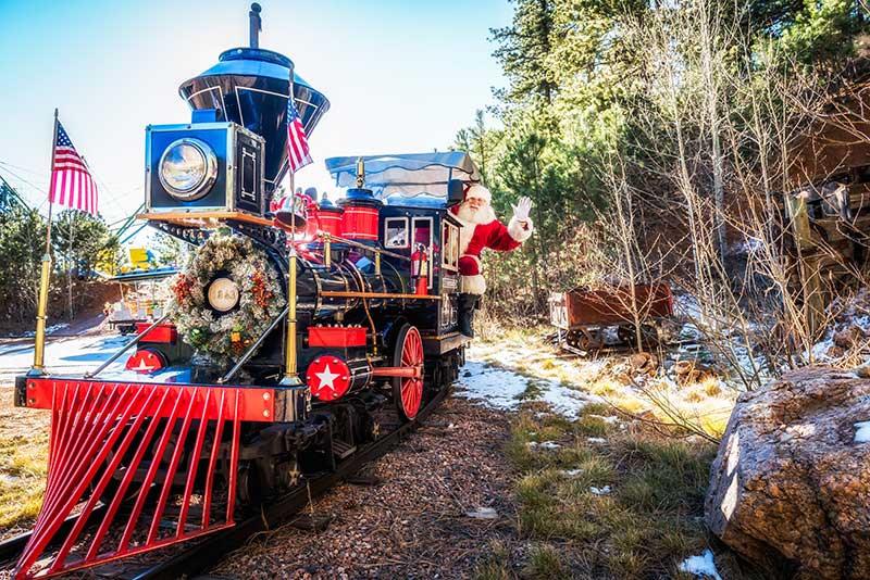 Santa on train at North pole