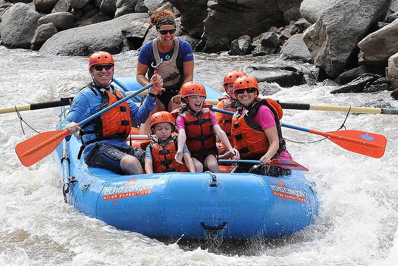 echo canyon kids laughing on raft