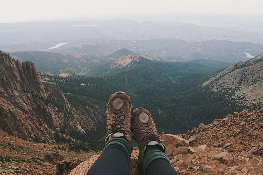 Hiking boots on Pikes Peak mountain